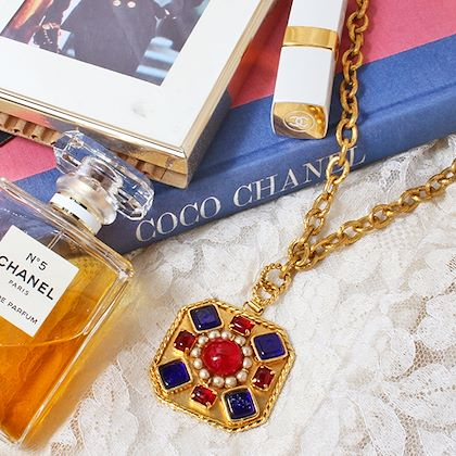 chanel-square-multi-stone-long-necklace-bluered