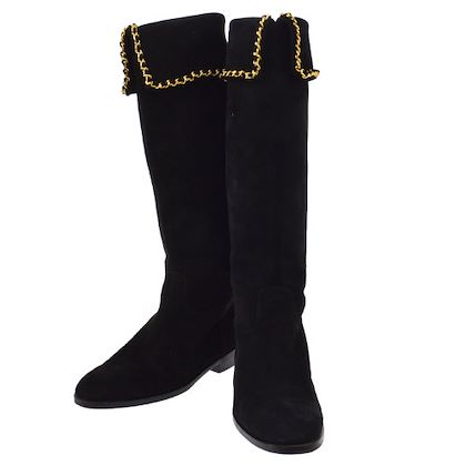 chanel-gold-chain-long-boots-shoes-black-suede-37
