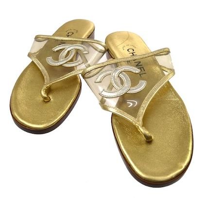 chanel-cc-shoes-sandals-gold-clear