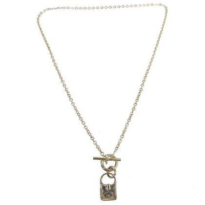 hermes-silver-chain-evelyne-bag-motif-pendant-necklace