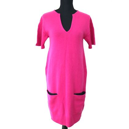 hermes-short-sleeve-one-piece-skirt-cashmere-36-pink