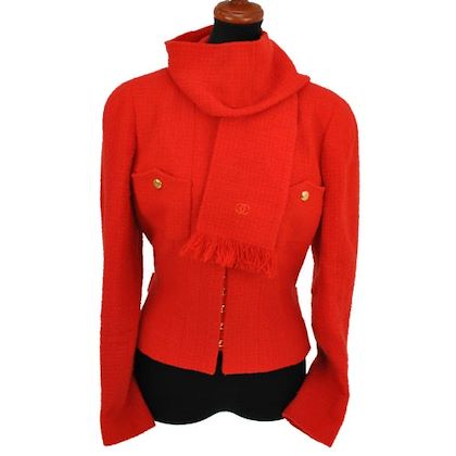 chanel-cc-no-collar-jacket-orange-wool-nylon-40