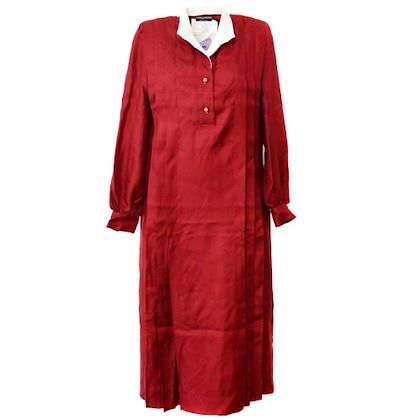 chanel-long-sleeve-one-piece-dress-red-4