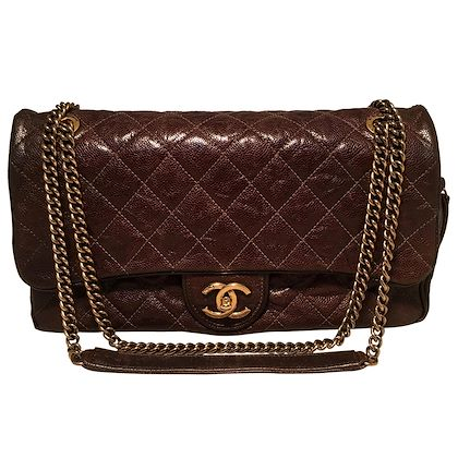 chanel-brown-distressed-caviar-leather-quilted-classic-flap-shoulder-bag