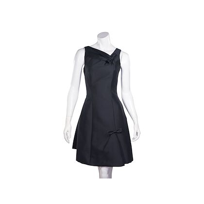 black-louis-vuitton-silk-fit-and-flare-dress