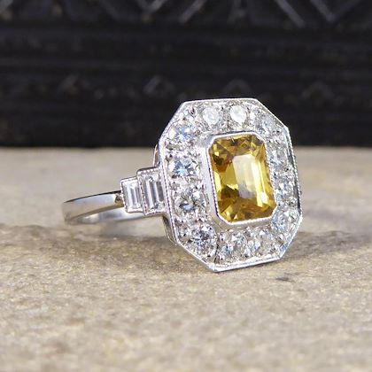 contemporary-art-deco-style-yellow-sapphire-and-diamond-cluster-ring-in-platinum