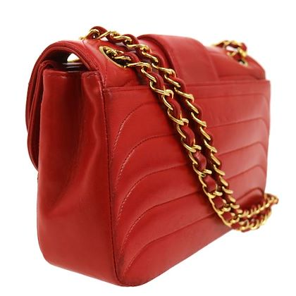 chanel-cc-logos-double-chain-shoulder-bag-red