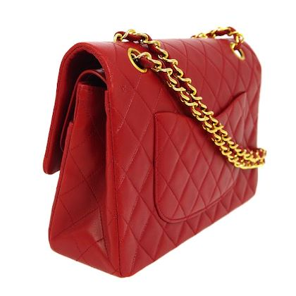 chanel-quilted-double-flap-chain-shoulder-bag-red