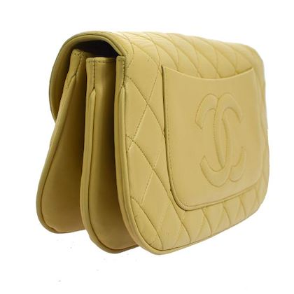 CHANEL Quilted Triple Turn Lock Clutch Party Bag Beige