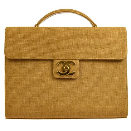 chanel-cc-business-briefcase-hand-bag-brown-linen
