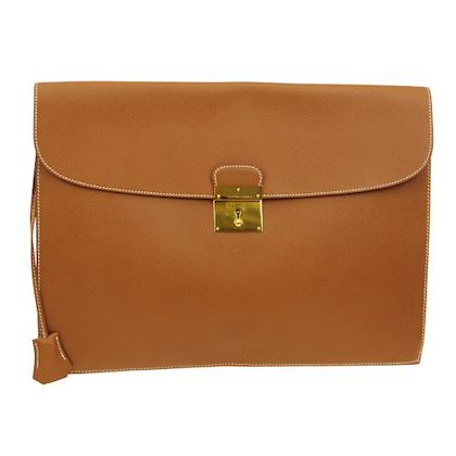 hermes-kirius-briefcase-hand-bag-brown-veau-greine-couchevel