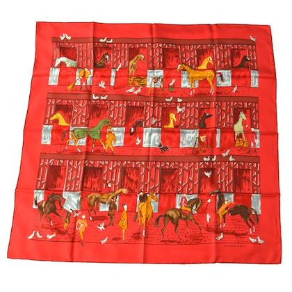 hermes-les-boxes-scarf-red