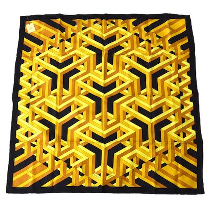 hermes-carre-cube-scarf-black-yellow