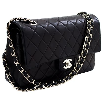chanel-255-silver-double-chain-flap-shoulder-bag-black-quilted-leather