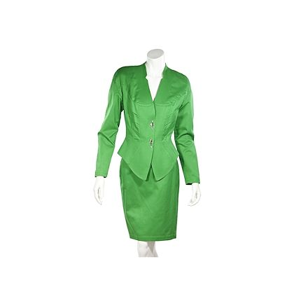 green-thierry-mugler-cotton-skirt-suit-set