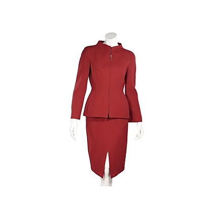 red-vintage-thierry-mugler-wool-skirt-suit-set
