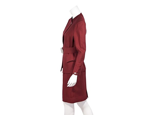red-vintage-wool-belted-skirt-suit-set