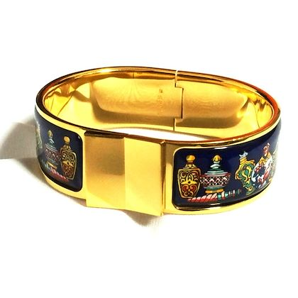 vintage-hermes-cloisonne-enamel-golden-click-and-clack-flacon-bangle-with-navy-blue-and-colorful-perfume-bottle-design-great-gift-idea