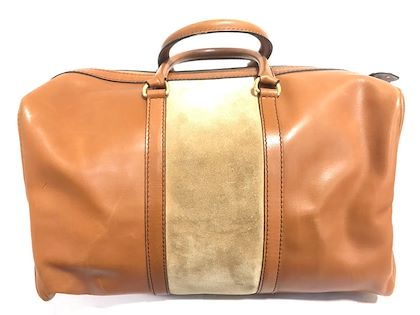 vintage-christian-dior-bagages-camel-brown-handbag-mid-size-duffle-purse-with-suede-leather-unisex-dior-logo-jacquard