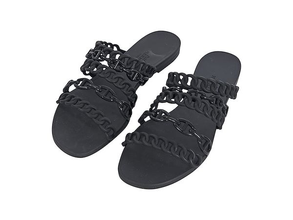 black-hermes-rubber-chaine-dancre-sandals