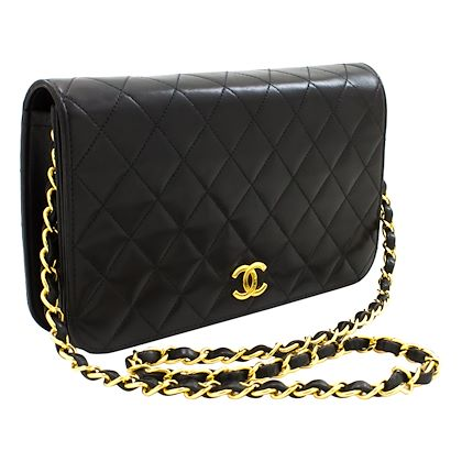 chanel-chain-shoulder-bag-black-clutch-flap-quilted-purse-lambskin-leather-3