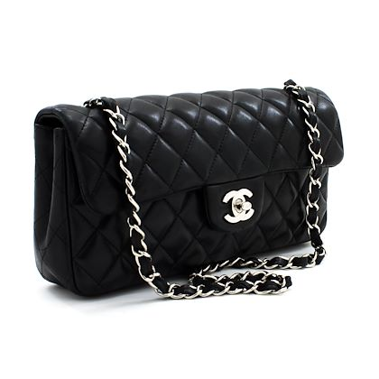 chanel-silver-chain-shoulder-bag-black-quilted-single-flap-lamb-leather
