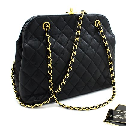 chanel-caviar-chain-shoulder-bag-black-quilted-leather-gold-hw