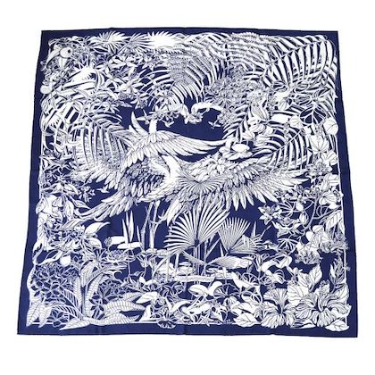 hermes-flamingo-party-twill-scarf-navy