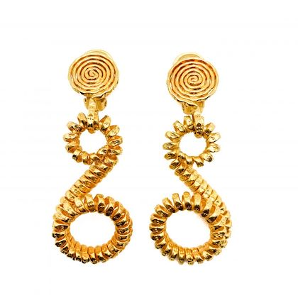 vintage-gold-coiled-metal-wire-statement-earrings-1990s