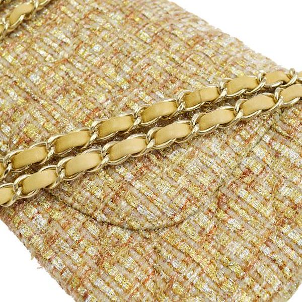 chanel-quilted-double-flap-chain-shoulder-bag-brown-tweed