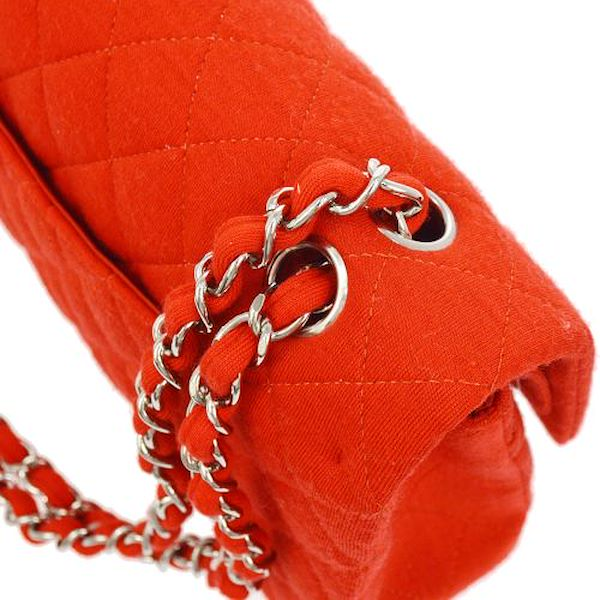 chanel-quilted-double-flap-chain-shoulder-bag-red-cotton