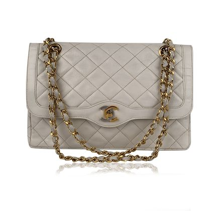 chanel-vintage-white-quilted-leather-limited-edition-double-flap-bag