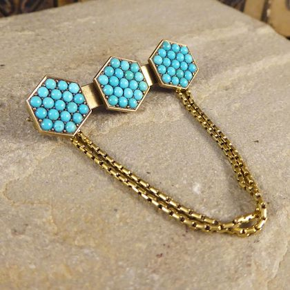 antique-late-victorian-turquoise-set-brooch-with-chains-in-15-carat-yellow-gold