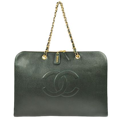 chanel-briefcase-business-chain-shoulder-bag-green-caviar