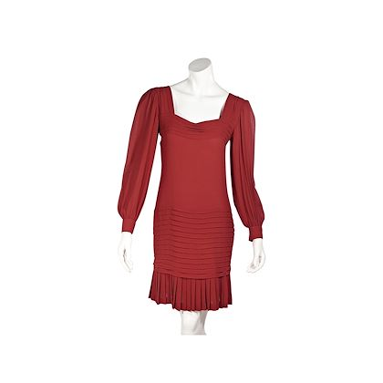 red-vintage-oscar-de-la-renta-silk-pleated-dress