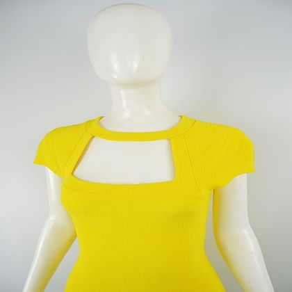 Genevieve Tarka 1980s Yellow Bodycon Party Dress