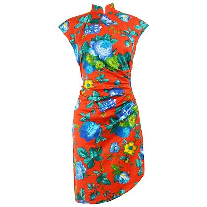 Georges Rech 1980s Asain Style Red Floral Dress