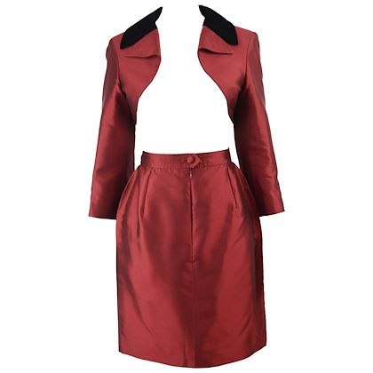 Christian Lacroix 1990s Red Silk Taffeta Skirt Suit