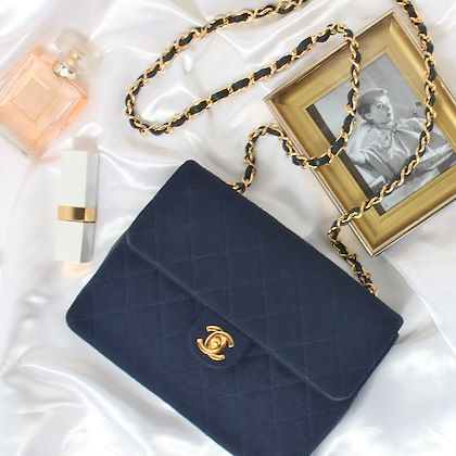 chanel-cotton-leather-combination-straight-flap-turn-lock-mini-chain-bag-navy
