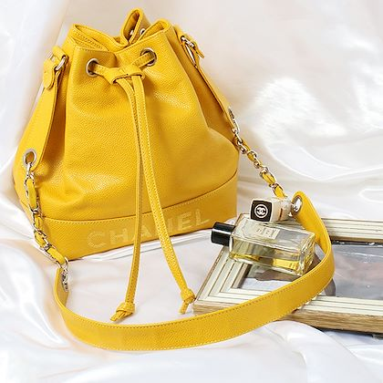 chanel-caviar-skin-logo-embroidered-drawstring-shoulder-bag-with-pouch-mustard-yellowsilver