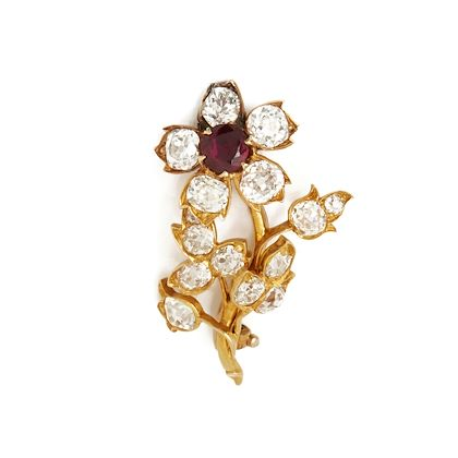 18k-yellow-gold-burmese-ruby-diamond-vintage-flower-brooch
