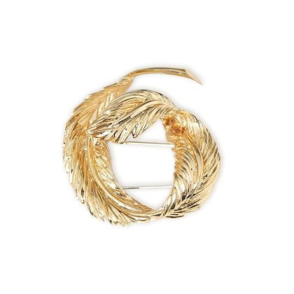 18k-yellow-gold-feather-design-vintage-brooch