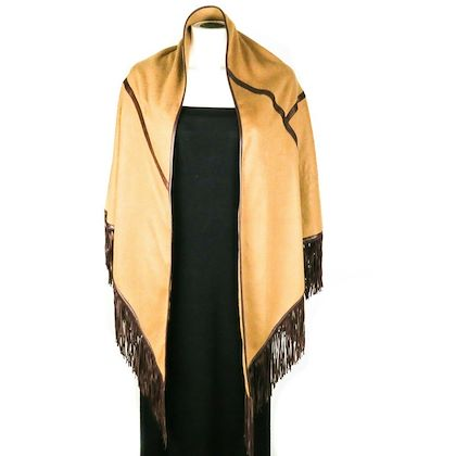 loro-piana-poncho-cape-cashmere-brown-leather-fringe-one-size-pre-owned-used