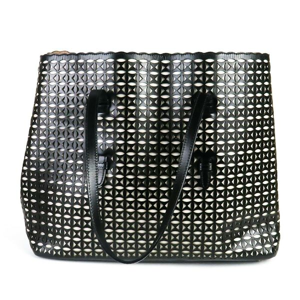 alaia-large-tote-black-and-white-leather-cutout-bag-scalloped-open-top-pre-owned-used