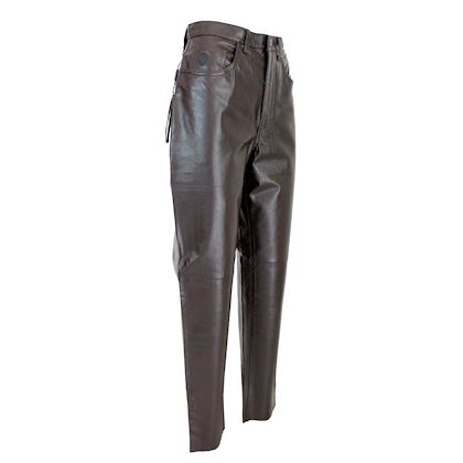 trussardi-vintage-classic-trousers-straight-leather-brown
