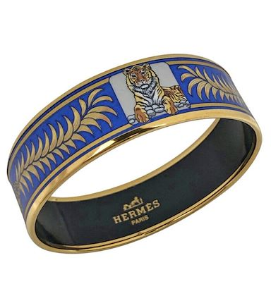 vintage-hermes-cloisonne-enamel-golden-thick-bangle-bracelet-with-tiger-and-crown-design-in-gold-and-blue-must-have-jewelry