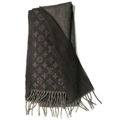 louis-vuitton-scarf-cashmere-wool-large-brown-monogram-lv-logo-print-pre-owned-used