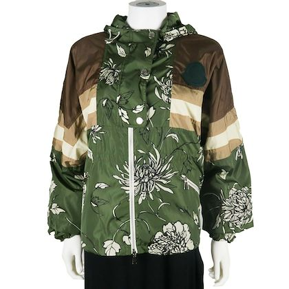 moncler-2019-hooded-windbreaker-green-brown-floral-print-us-small-1-pre-owned-used