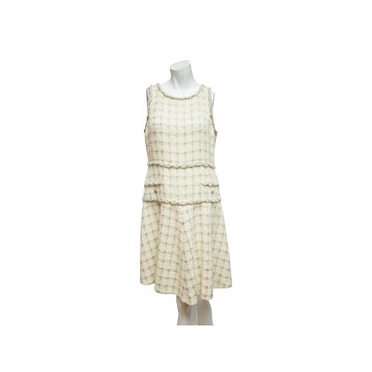metallic-cream-chanel-tweed-shift-dress