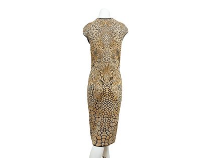 gold-black-alexander-mcqueen-animal-sheath-dress